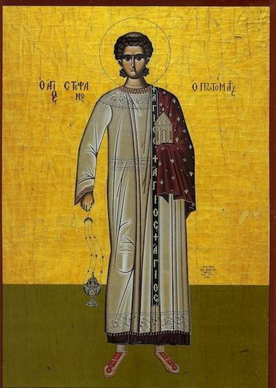 St Stephen, patron saint of deacons.